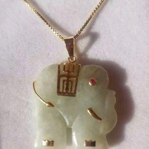 Green Jade Elephant Pendant & Necklace 14k Over St
